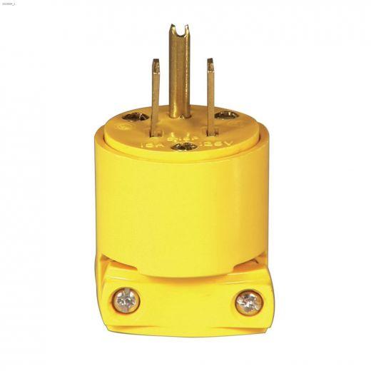 Yellow Heavy Duty Straight Blade Plug 15A 125V 2P\/3W