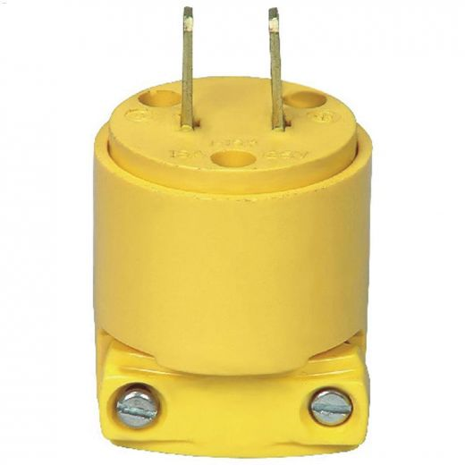 Yellow Straight Blade Plug 15A 125V 2P\/2W
