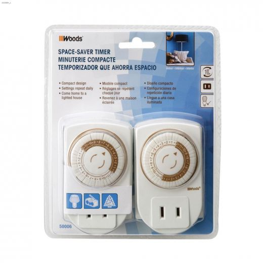 Indoor 24 hr White Mechanical Space Saver Timer 2C-2\/Pack