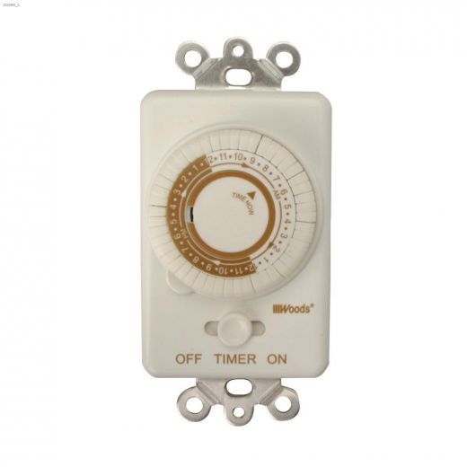 Indoor 24 hr White With Taupe Silkscreen Mechanical Timer