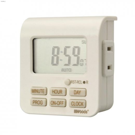 Indoor 7 Day White With Taupe Silkscreen Digital Timer 2C