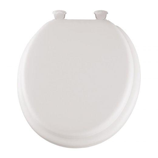 Round Vinyl White Cushioned Toilet Seat