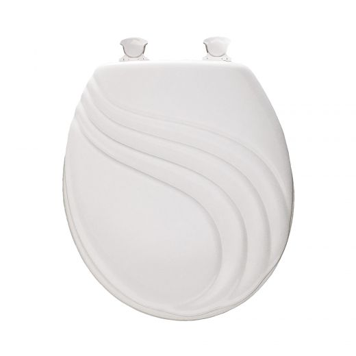 Round Molded Wood Swirl Toilet Seat