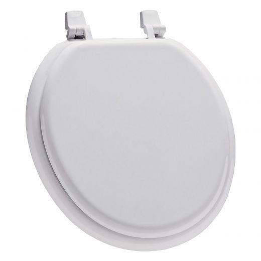 Round Molded Wood White Toilet Seat