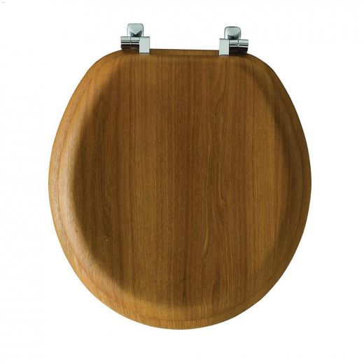 Round Molded Wood Natural Oak Veneer Toilet Seat With Chair