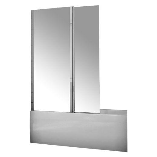 "Siena 15"" x 58"" Chrome Frame Clear Glass Pivot Tub Shield"