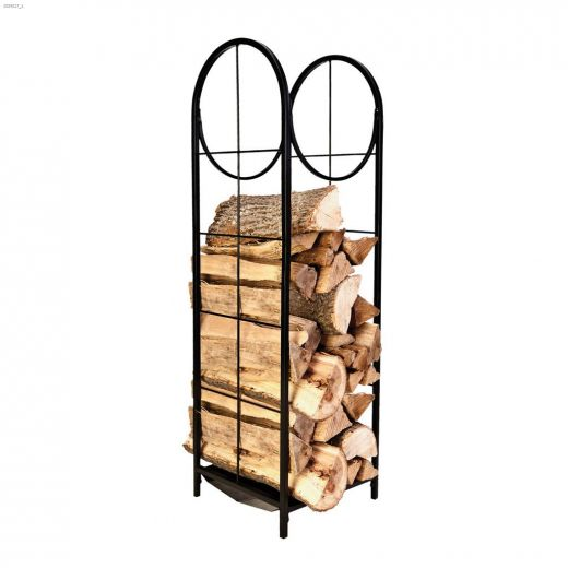 """48\"""" x 14\"""" x 14\"""" Black Vertical Log Bin With Pullout Tray"""