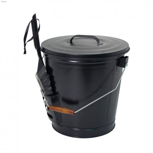 "Open Hearth\u2122 11\"" x 11\"" x 17\"" Black Ash Bucket With Shovel"