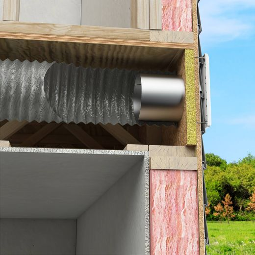 """4"""" x 25' Grey Non-Insulated Vinyl Air Duct"""