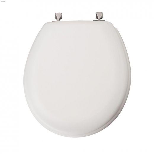 Round Molded Wood Toilet Seat With Brushed Nickel Hinge