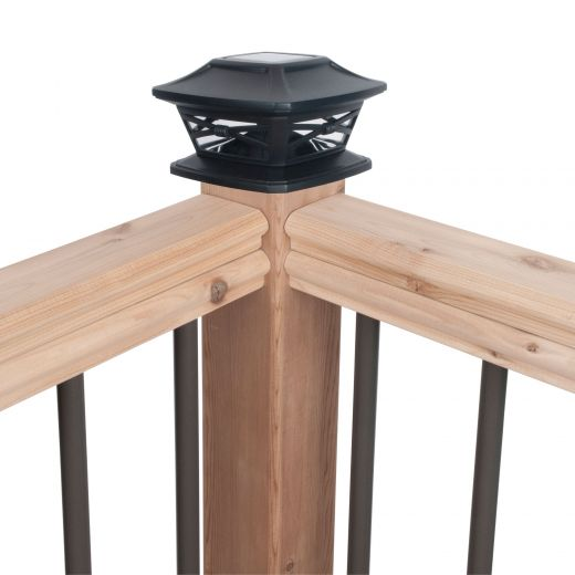 Solar Fence Post Cap with Plastic Lens - Black