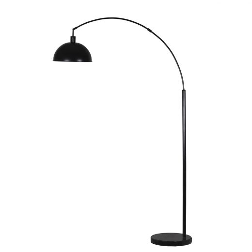 """73"""" Arc Floor Lamp Matte Black with Gold Accents Finish"""
