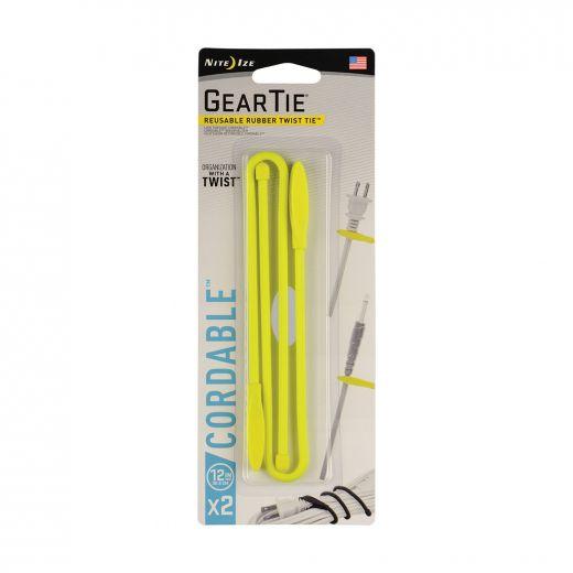 Gear Tie Cordable Twist Tie 12 In. - Neon Yellow