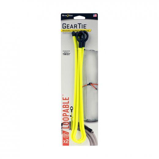 "Gear Tie Loopable Twist Tie 24"" - Neon Yellow-2/Pack"
