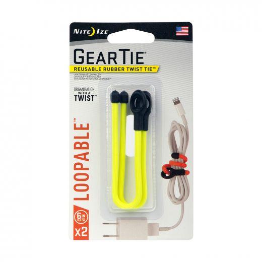 "Gear Tie Loopable Twist Tie 6"" - Neon Yellow-2/Pack"