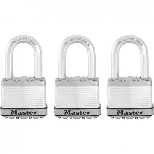 """2"""" Wide Laminated Padlock with 1-1/2"""" Shackle-3/Pack"""