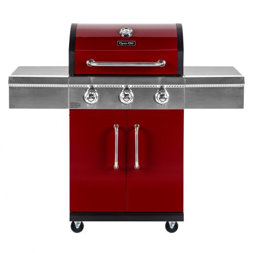 Dyna-glo Red Three Burner Propane Gas Grill with 2 Doors
