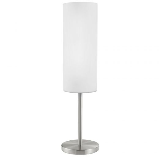 """18"""" Troy 3 Table Lamp Matte Nickel Finish with White Glass"""