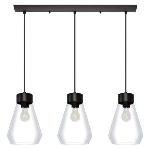 Montey Pendant Island Light Matte Black with Clear Glass