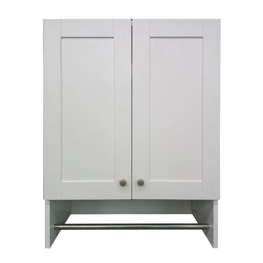 """24"""" Classic White Laundry Storage Cabinet With Hang Rod"""