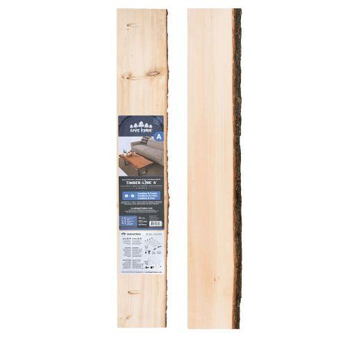 "2"" x (5""-8"") x 4' Live Edge Pine Timber-link Edge Slab"