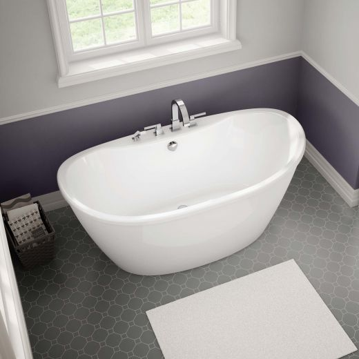 "Delsia 60""Fiberglass Off-Center Drain Freestanding Bathtub"