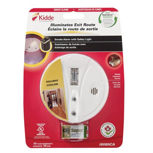 Battery Operated Smoke Alarm with Safety Light