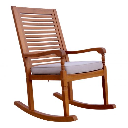 Nantucket Rocking Chair, Natural Stain with Grey Cushion