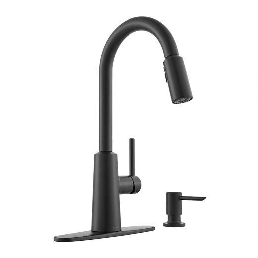 Nori Single Handle High Arc Pulldown Black Kitchen Faucet