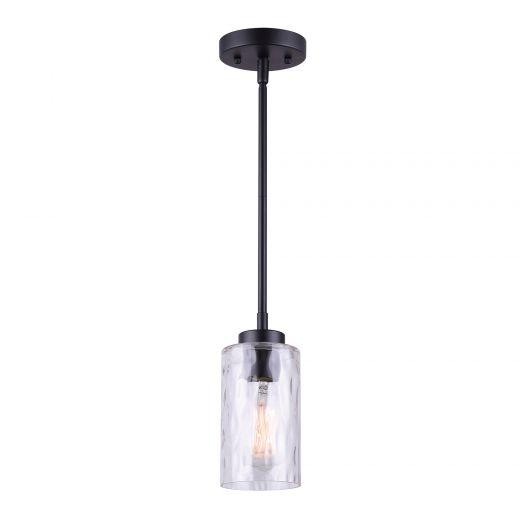 Newport 1 Light Pendant, Matte Black, Watermark Glass