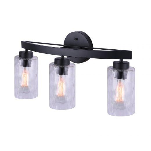 Newport 3 Light Vanity, Matte Black, Watermark Glass