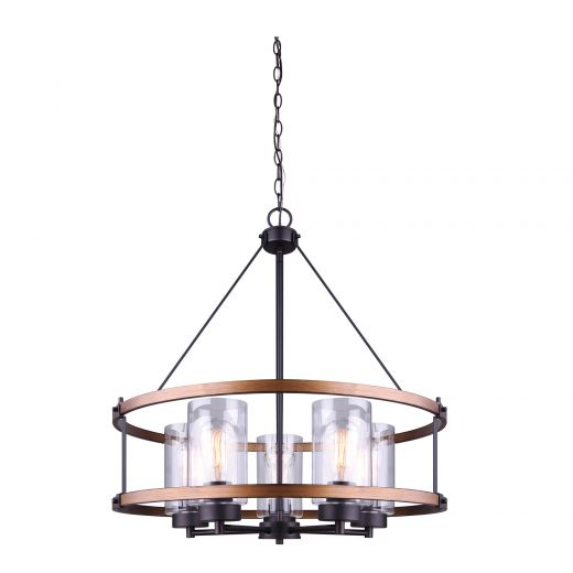 Canmore 5 Light Chandelier, Oil Rubbed Bronze & Wood