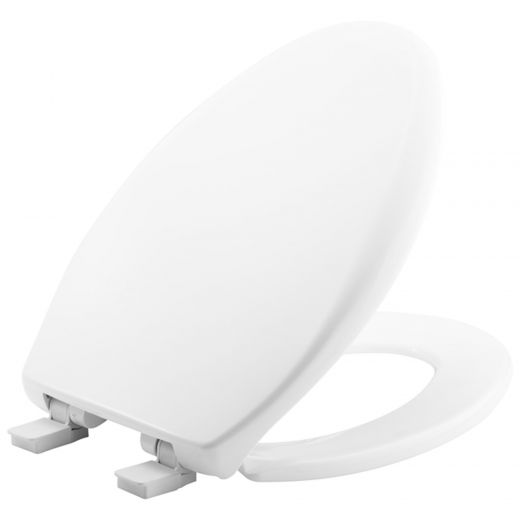 Elongated Plastic Toilet Seat In White with STA-TITE®