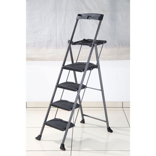 Steel Folding Deluxe 4-Step Ladder