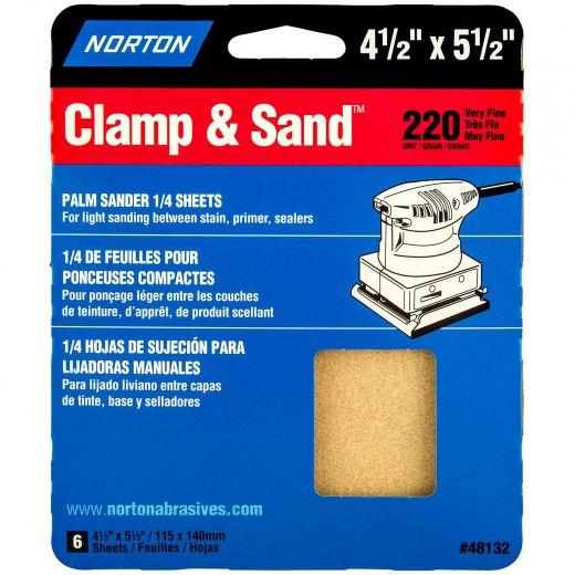 "4-1/2"" x 5-1/2""Multisand Sheet 220 Grit-6/Pack"