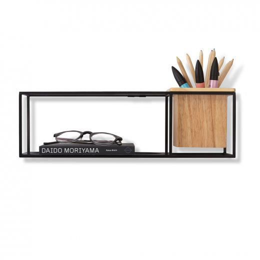 Cubist Small Black and Wood Wall Display