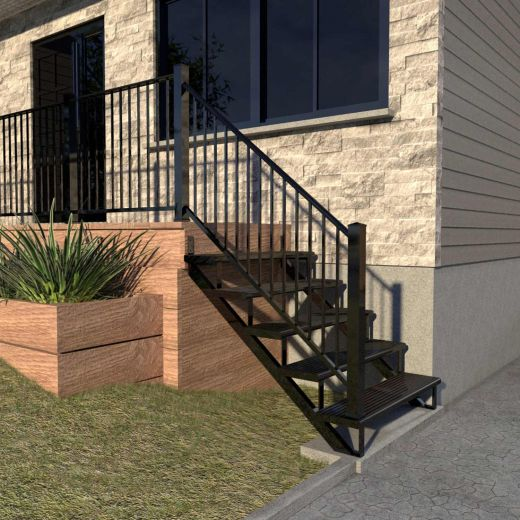 Aluminum 5 Step Black Stair Riser