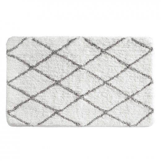 """34"""" x 21"""" White And Gray Diamond Sherpa Bathroom Accent Rug"""