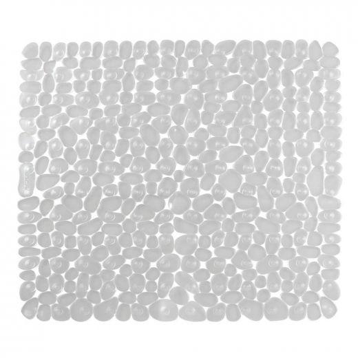 """22"""" x 22"""" Clear Pebblz Plastic Non-Slip Suction Bath Mat"""