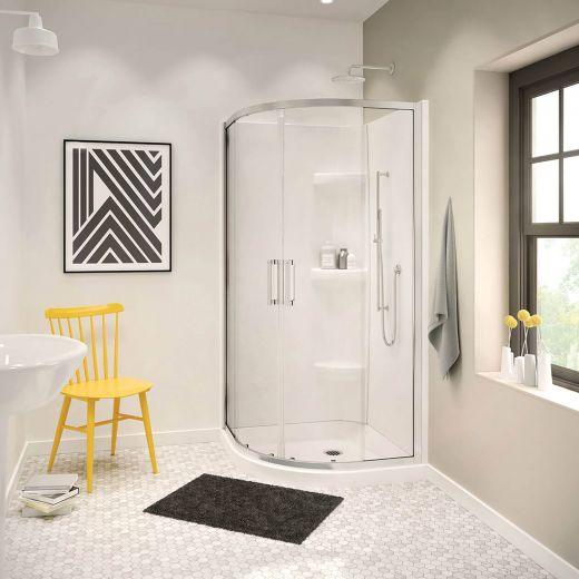 White Radia Neo-Round Slding Shower Door