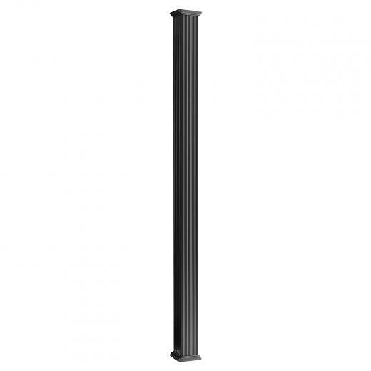 """5-1/4"""" x 5-1/4"""" x 8' Black Square Aluminum Column"""
