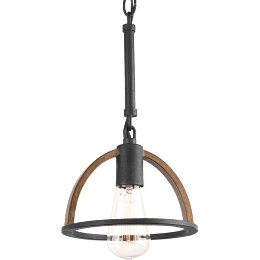 Trestle: 1 light Mini Pendant, Iron And Oak Finish