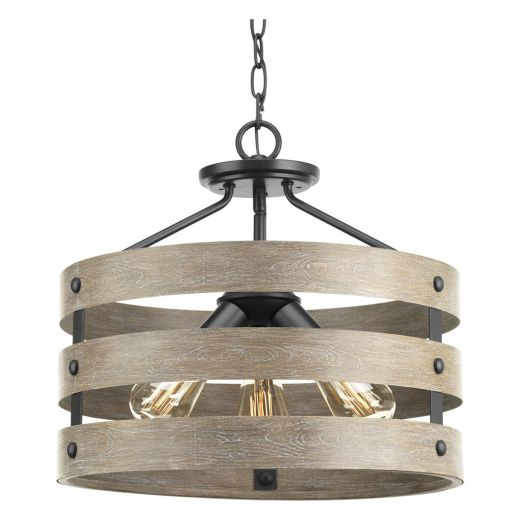 Gulliver: 3 light Semi-Flush, Driftwood Look, Weathered Zinc
