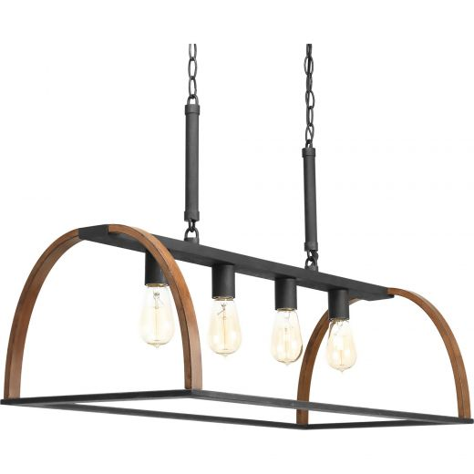 Trestle: 4 light Linear Chandelier, Iron And Oak Finish