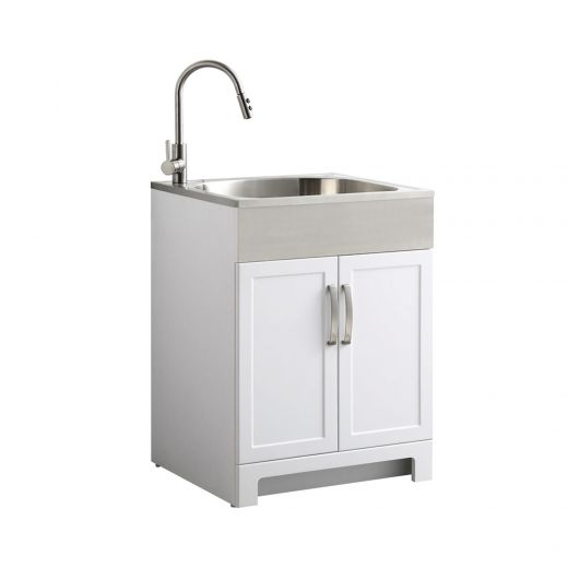 White Laundry Cabinet with Stainless Steel Apron Front