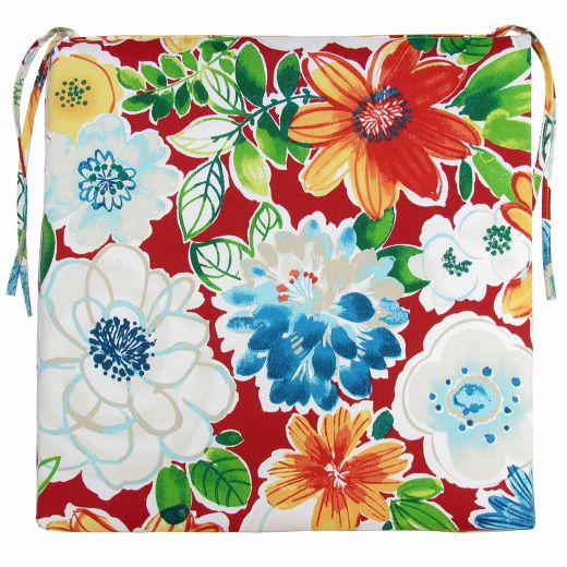 Reversible Square Chair Cushion-Floral