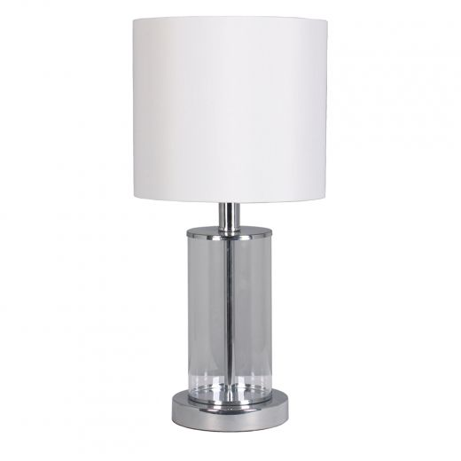 """Glass 21""""Table Lamp Brushed Nickel"""