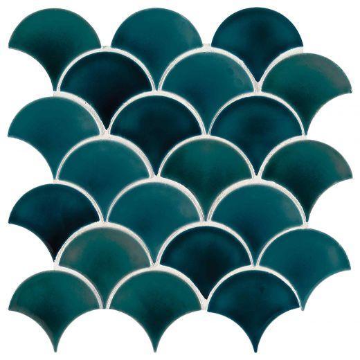 Azul Scallop Glossy Glazed Porcelain Mosaic Tile