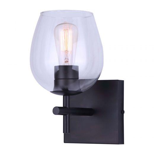 Cain 1 Light Matte Black Vanity Light