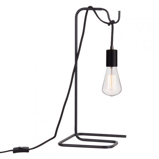 Table Lamp Vintage S-type Exposed Bulb- Matte Black
